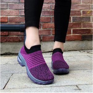 DAHOOD Women Running Walking Shoes Hot Autumn New Mesh Breathable Knit Ladies Mix Colors Sneakers Soft Platform Slip On Loafers