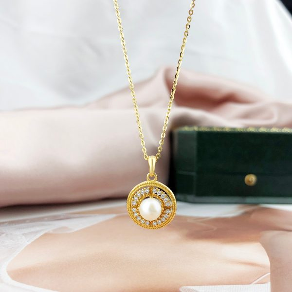 LAMOON Freshwater Pearl Pendant Necklace 925 Sterling Silver Necklaces For Women 14K Gold Plated Fine Jewelry Wholesale LMNI116