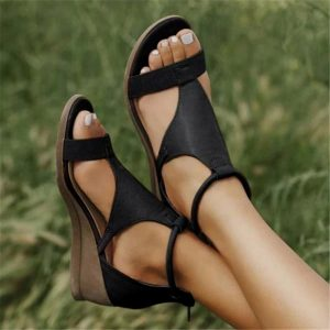 Laamei Women Summer Sandals Mid Heels Wedges Shoes Ladies Vintage PU Leather Plus Size Sandalias Mujer Sapato Feminino 2020
