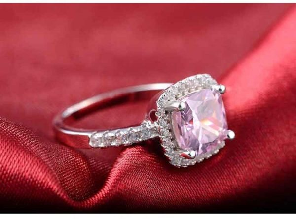 925 Sterling Silver cushion cut zircon Jewelry set Engagement ring stud earring for women gift size 11,12,13 J1099-pink