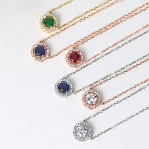 Shiny Pendant Necklaces For Women 2020 Aesthetic Jewellery Collar Choker Chain Cubic Zirconia 6 Colors Fashion Jewelry N095-M