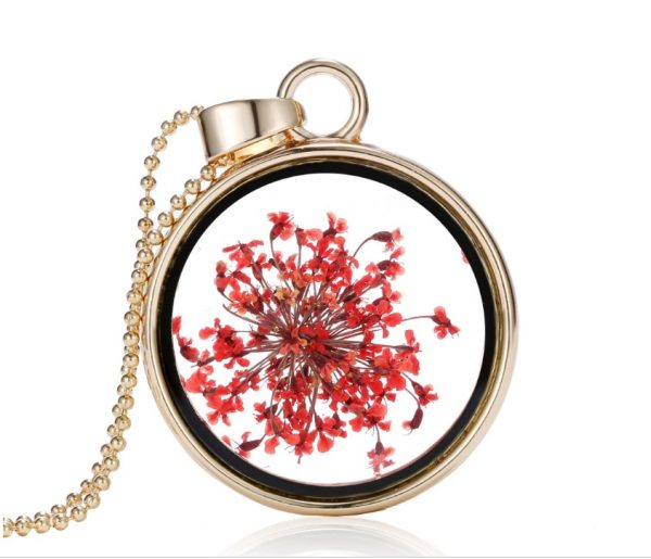 Popular Korean Round Pendant Necklace Womens Long Gold Bead Chain Colorful Specimen Dried Flower Necklace Jewelry For Girls