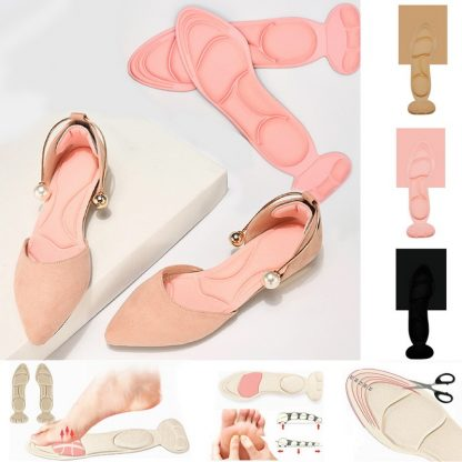 2 Pair Women Insole Pad Breathable Anti-slip Inserts High Heel Insert Pad Foot Heel Protector Shoes Accessories